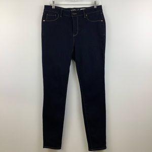 d.jeans Mid Rise Skinny Jeans in Dark Indigo Wash